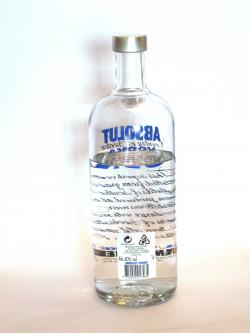 A photo of the back side of a bottle of Absolut Vodka
