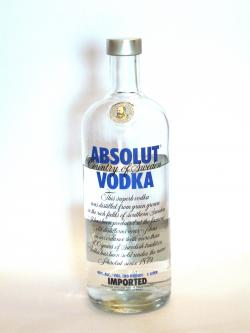 A photo of the frontal side of a bottle of Absolut Vodka