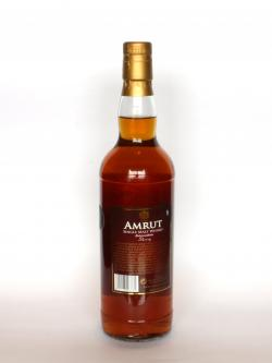 A photo of the back side of a bottle of Amrut Intermediate Sherry Matured