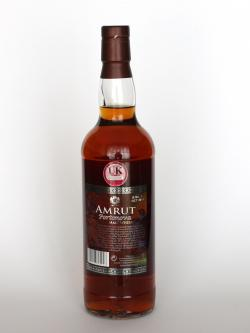 A photo of the back side of a bottle of Amrut Portonova