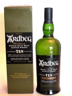 A bottle of Ardbeg 10 year old