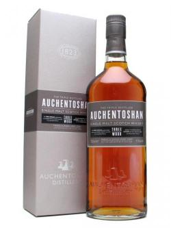 A bottle of Auchentoshan Three Wood Lowland Single Malt Scotch Whisky
