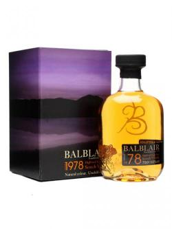 A bottle of Balblair 1978 Highland Single Malt Scotch Whisky