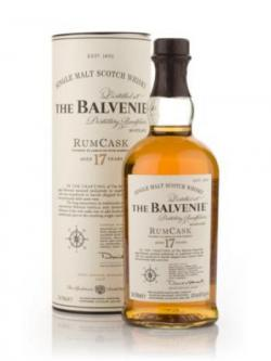 A bottle of Balvenie 17 year Rum Cask