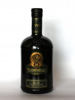 A photo of the frontal side of a bottle of Bunnahabhain 18 year