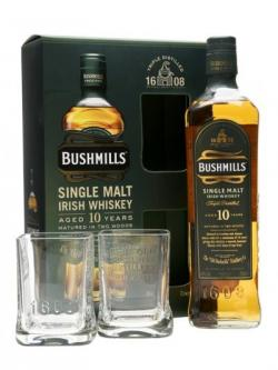 Bushmills 10 Year Old Glass Pack Irish Single Malt Whiskey 70cl