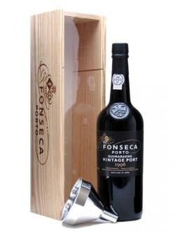 A bottle of Fonseca Guimaraens 1996 Vintage Port + Decanting Funnel