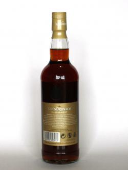 A photo of the back side of a bottle of Glendronach 21 year Parliament
