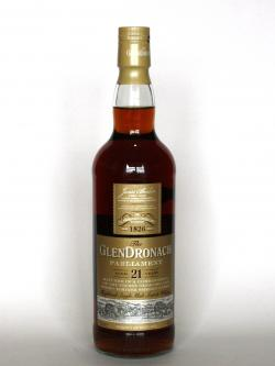 A photo of the frontal side of a bottle of Glendronach 21 year Parliament