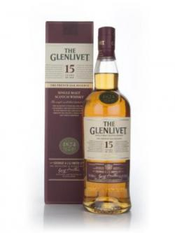 A bottle of Glenlivet 15 Year Old Speyside Single Malt Scotch Whisk