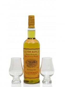 Glenmorangie 70cl Bottle Two Engraved Glasses 10 Year Old