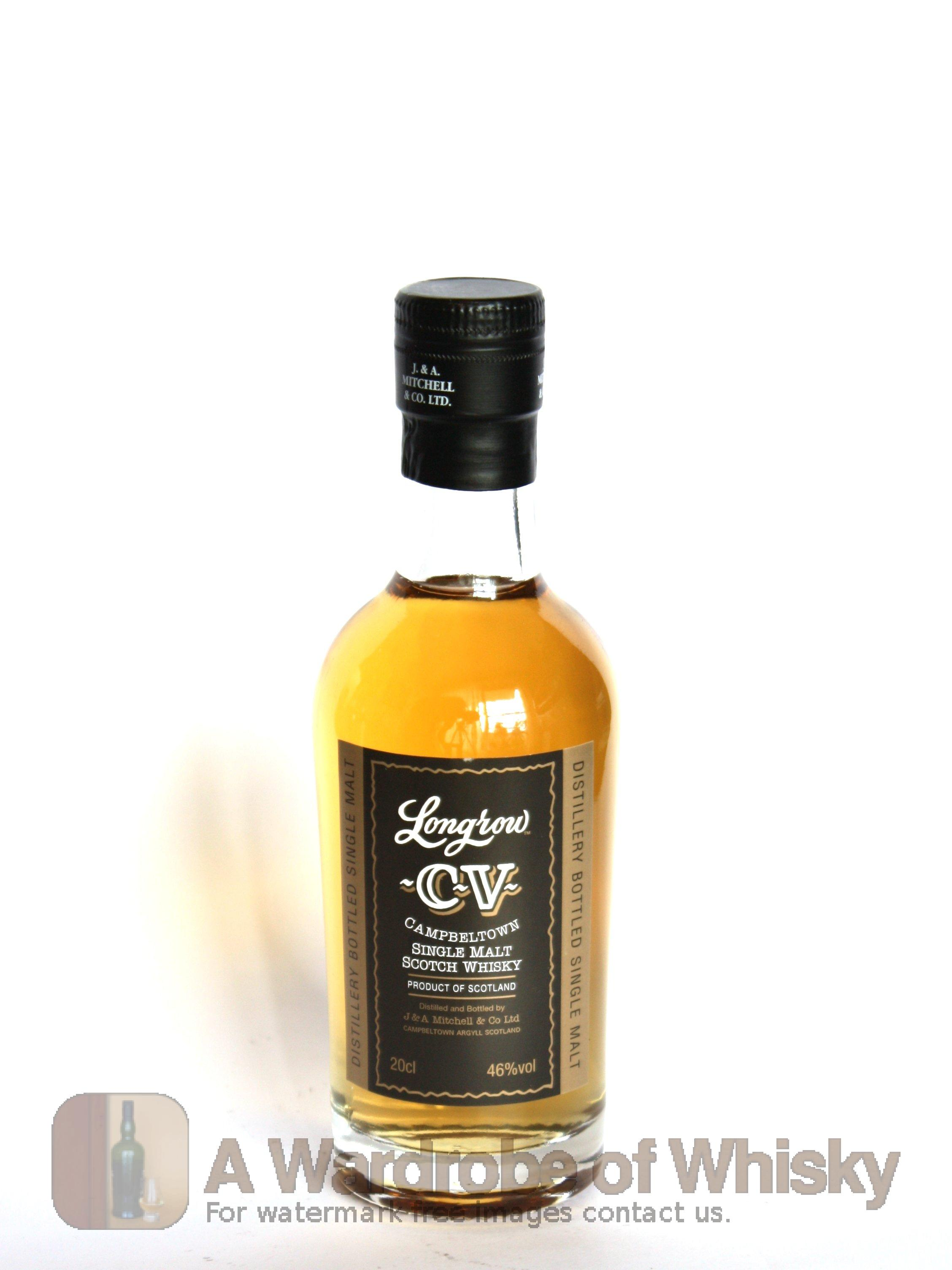 half-bottle of longrow cv single malt whisky