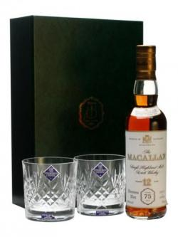 Macallan 12 Year Old& 2 Glasses / Muntons 75th Anniversary Speyside Whisky