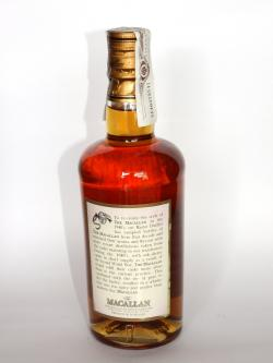 A photo of the back side of a bottle of Macallan Forties
