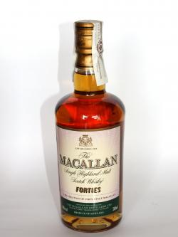 A photo of the frontal side of a bottle of Macallan Forties