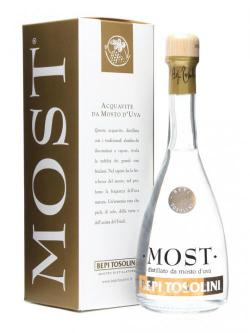 A bottle of Tosolini - Most / Mosto D'uva Grape Brandy / Small Bottle
