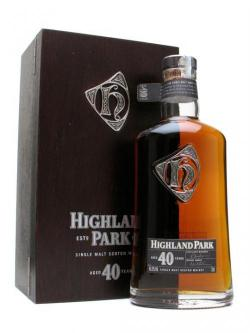 A bottle of Highland Park 40 Year Old Island Single Malt Scotch Whisky
