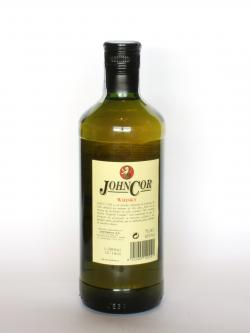 A photo of the back side of a bottle of John Cor