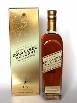 A bottle of Johnnie Walker Gold Label Reserve Blended Scotch Whisky