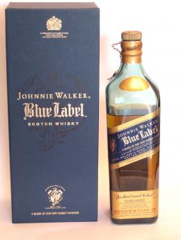 a bottle of Johnnie Walker Blue Label