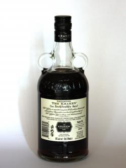A photo of the back side of a bottle of Kraken Black Spiced Rum