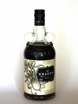 A photo of the frontal side of a bottle of Kraken Black Spiced Rum