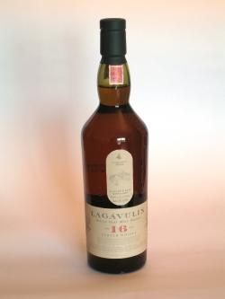 A photo of the frontal side of a bottle of Lagavulin 16 year