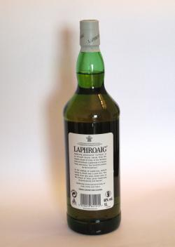 A photo of the back side of a bottle of Laphroaig 10 year