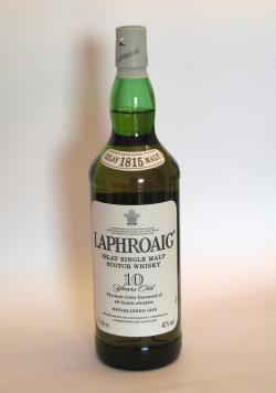 A photo of the frontal side of a bottle of Laphroaig 10 year