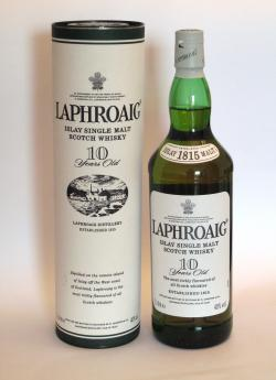 A bottle of Laphroaig 10 year