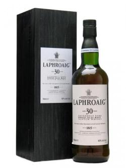 A bottle of Laphroaig 30 Year Old / Wooden Box Islay Single Malt Scotch Whisky