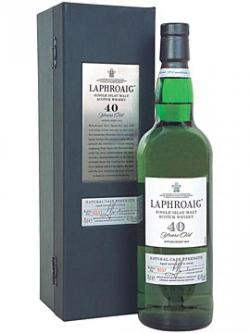 A bottle of Laphroaig 40 Year Old Islay Single Malt Scotch Whisky