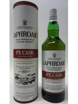 A bottle of Laphroaig Px Cask 1 Litre