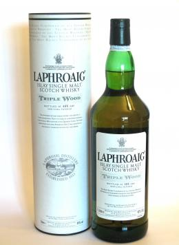 a bottle of Laphroaig Triple Wood