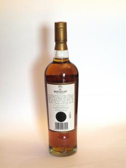 A photo of the back side of a bottle of Macallan 10 year Sherry Oak