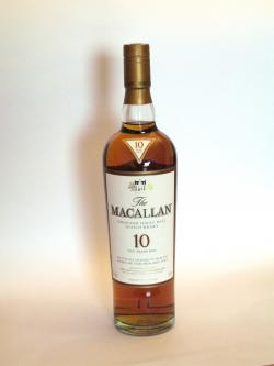 A photo of the frontal side of a bottle of Macallan 10 year Sherry Oak
