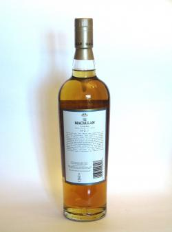 A photo of the back side of a bottle of Macallan 12 year Fine Oak