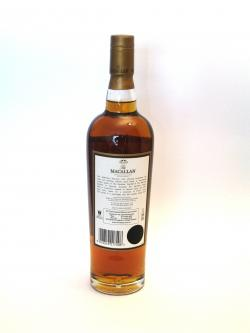 A photo of the back side of a bottle of Macallan 12 year Sherry Oak