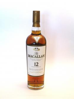 A photo of the frontal side of a bottle of Macallan 12 year Sherry Oak