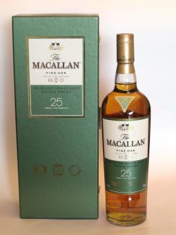 A bottle of Macallan 25 year Fine Oak