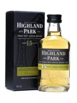 A bottle of Highland Park 15 Year Old Miniature