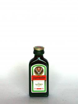 A photo of the frontal side of a bottle of Jägermeister