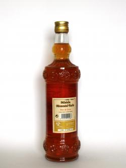 A photo of the back side of a bottle of Mistela Moscatel Turis