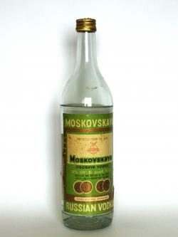 A bottle of Moskovskaya Russian Vodka
