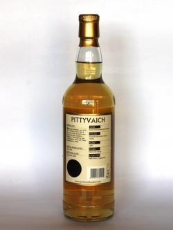 A photo of the back side of a bottle of Pittyvaich 1993
