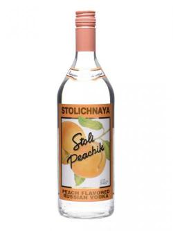 A bottle of Stolichnaya Peachik Vodka