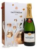 A bottle of Taittinger Brut Reserve Champagne / Glass Set