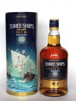a bottle of Three Ships South Africa Whisky