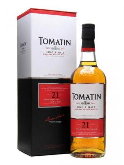A bottle of Tomatin 21 Year Old Speyside Single Malt Scotch Whisky