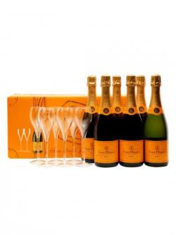 Veuve Clicquot Champagne Home Party Set 6 Bottles + 6 Flutes